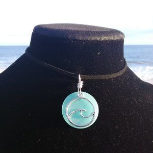 Light Blue Sea Glass Silver Ocean Wave Necklace